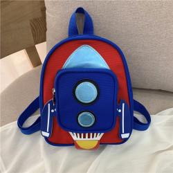 Детский рюкзак с карманом. Синяя ракета.