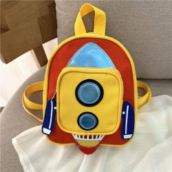 Детский рюкзак с карманом. Желтая ракета.