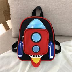 Детский рюкзак с карманом. Красная ракета.