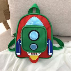 Детский рюкзак с карманом. Зеленая ракета.