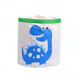 Корзина с каркасом для игрушек на завязках, белая. Синий дино.