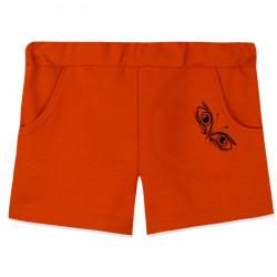 Шорты для девочки, оранжевые. Бабочка с глазами.