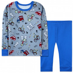 Пижама для мальчика, синяя. Городской транспорт.