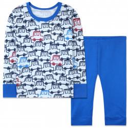 Пижама для мальчика, синяя. Нарисованные машинки.