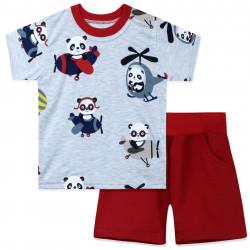 Костюм для мальчика, серый. Панды - летчики.