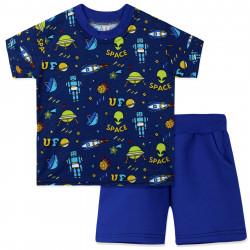 Костюм для мальчика, синий. Космические объекты.