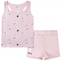 Пижама для девочки, розовая. Зайчики в платьицах.