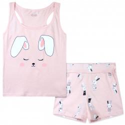 Пижама для девочки, розовая. Ушастый зайчик.