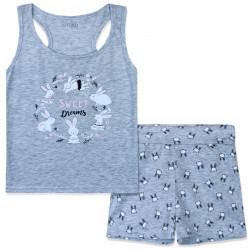 Пижама для девочки, серая. Сладкие зайчики.