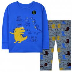 Пижама для мальчика, синяя. Рычащие динозавры.