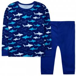 Пижама для мальчика, темно-синяя. Акулы.