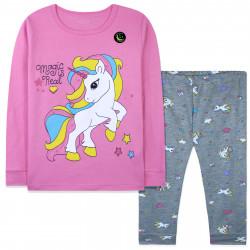 Пижама для девочки, розовая. Светящийся единорог.