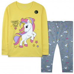 Пижама для девочки, желтая. Светящийся единорог.