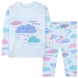 Пижама для новорожденной девочки, белая. Мечтательная тучка.