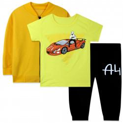 Костюм для мальчика тройка, желтый. Влад Бумага А4.