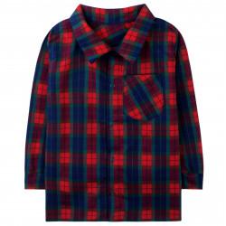 Рубашка для мальчика, красная. Стильная клеточка.