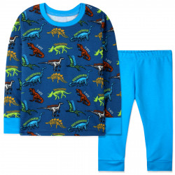 Пижама для мальчика, сине-голубая. Динозавры и скелеты.