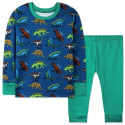 Пижама для мальчика, сине-зеленая. Динозавры и скелеты.