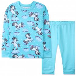 Пижама для девочки, бирюзовая. Единорог на роликах.