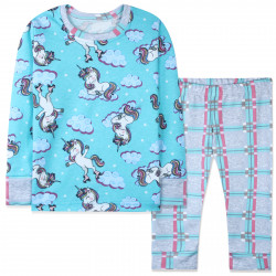 Пижама для девочки, бирюзово-серая. Единорог на роликах.