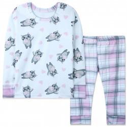 Пижама для девочки, белая. Котики и сердечка.