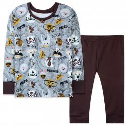 Пижама детская, коричневая. Собачки в очках.