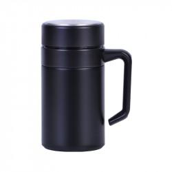 Термокружка с ситечком, термочашка, черная. Комфорт. 400 мл.