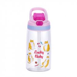 Бутылка детская пластиковая, поильник, розовая. Везучие коты. 480 мл.