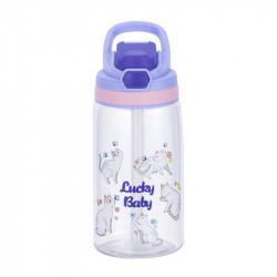 Бутылка детская пластиковая, поильник, фиолетовая. Везучие кошки. 480 мл.
