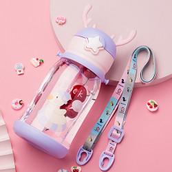 Бутылка с рожками детская пластиковая, поильник, фиолетовая. Уточка. 600 мл.