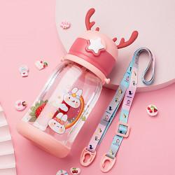 Бутылка с рожками детская пластиковая, поильник, красная. Зайчики и радуга. 600 мл.