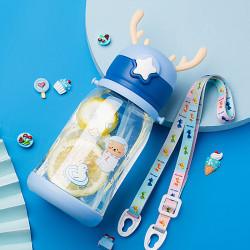 Бутылка с рожками детская пластиковая, поильник, синяя. Космонавт - рыбак. 600 мл.