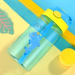 Бутылка детская пластиковая, поильник, голубая. Дельфин. 480 мл.
