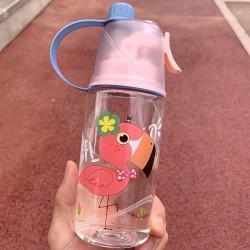 Бутылка с распылителем пластиковая, розовая. Фламинго. 400 мл.