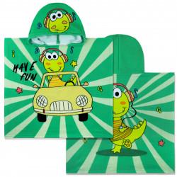 Полотенце-пончо, пончо, зеленое. Музыкальный дино в машине. 60*120 см. Микрофибра.