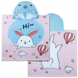 Полотенце-пончо, пончо, розовое. Кролик и воздушный шар. 60*120 см. Микрофибра.