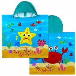 Полотенце-пончо, пончо, синее. Морская звезда и краб. 60*120 см. Микрофибра.