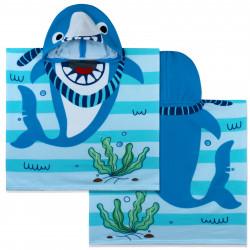Полотенце-пончо, пончо, голубое. Морская акула. 60*120 см. Микрофибра.