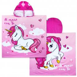 Полотенце-пончо с рюкзачком, розовое. Единорог с блестящим рогом . 75*150 см. Микрофибра.