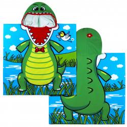 Полотенце-пончо с рюкзачком, зеленое. Зубатый крокодил. 75*150 см. Микрофибра.