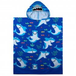 Полотенце-пончо с рюкзачком, синее. Акулы и рыбки. 75*180 см. Микрофибра.