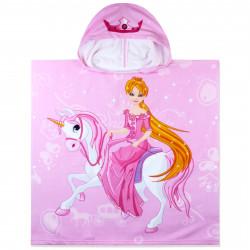 Полотенце-пончо с рюкзачком, розовое. Принцесса на единороге. 75*150 см. Микрофибра.