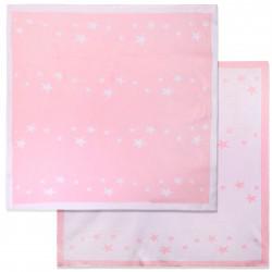Вязаный плед, детский, розовый. Звездочки. 90*90 см.