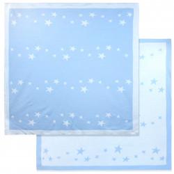 Вязаный плед двухсторонний, детский, голубой. Звездочки. 90*90 см.