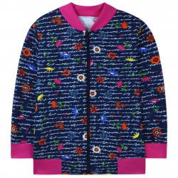 Джемпер для девочки, бомбер, кофта, темно-синяя с розовым. Полевые цветы.