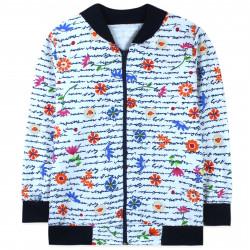 Джемпер для девочки, бомбер, кофта, белая. Полевые цветы.