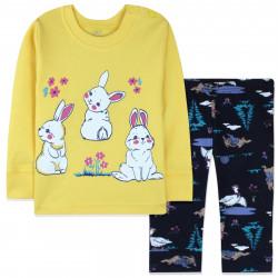 Пижама для новорожденной девочки, желтая. Милые зайчики.