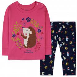 Пижама для новорожденной девочки, малиновая. Ёжик с цветами.