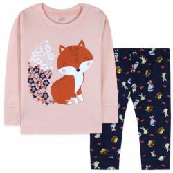 Пижама для новорожденной девочки, розовая. Пушистая лисичка.