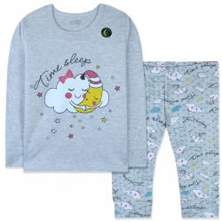 Пижама для девочки, серая. Мечтательные тучка и луна.